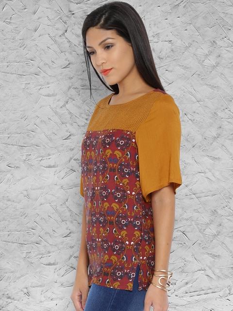 IMARA by Shraddha Kapoor Maroon & Mustard Orange Printed Top