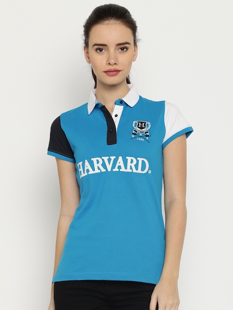 Harvard Women Blue Solid Polo T-Shirt