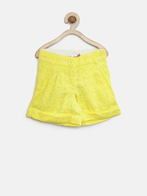 612 League Girls Yellow Schiffli Shorts