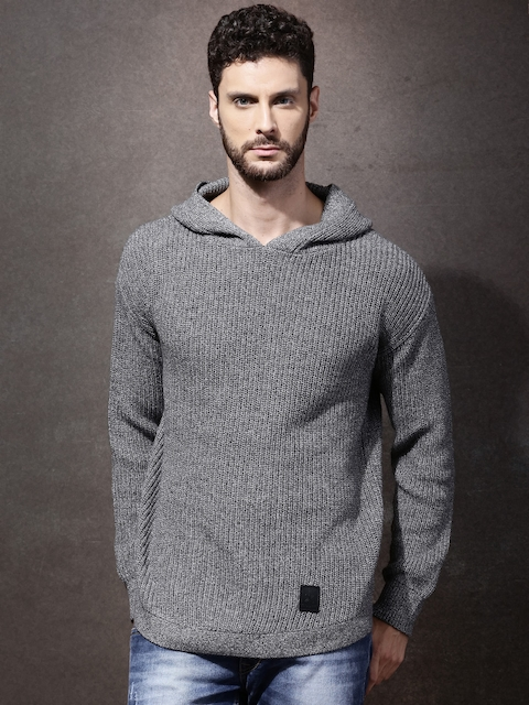 Roadster Men Grey Solid Hooded Sweater