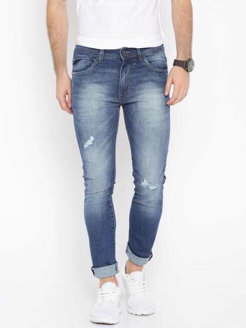 Mast & Harbour Men Blue Skinny Fit Differential Length Jeans