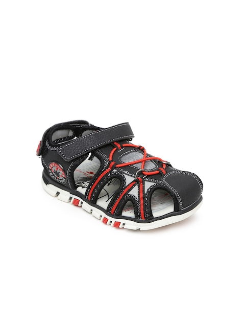 Juniors by Lifestyle Boys Black & Red Sandals