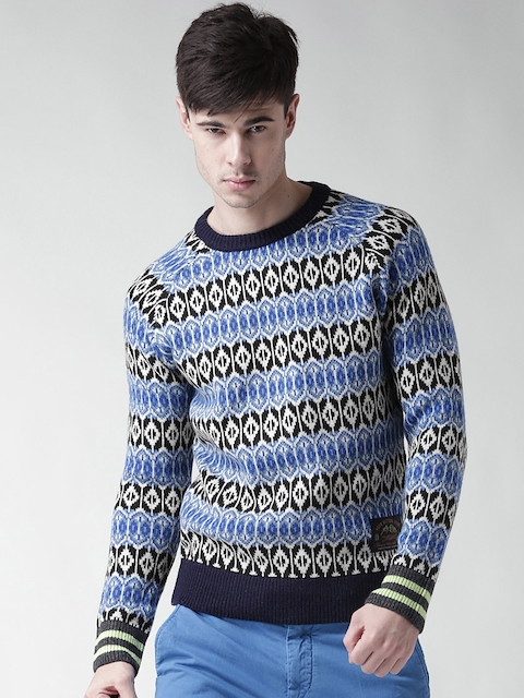 Scotch & Soda Men Blue & Off-White Patterned Sweater
