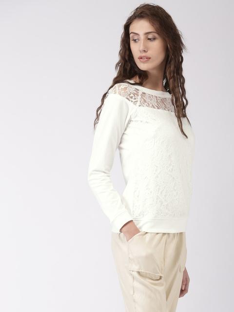 Ms.Taken by Kriti Sanon White Lace Sweatshirt