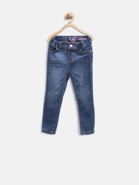 The Childrens Place Girls Blue Washed Denim Jeggings