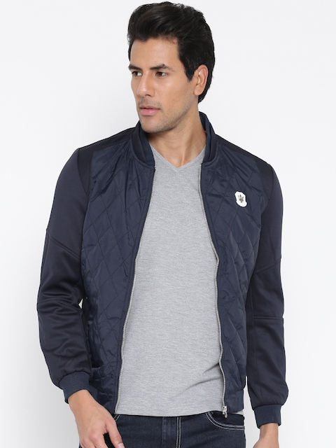 The Indian Garage Co Navy Quilted Bomber Jacket For Men Price In