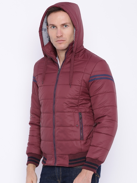 Nature Casuals Maroon Padded Jacket with Detachable Hood