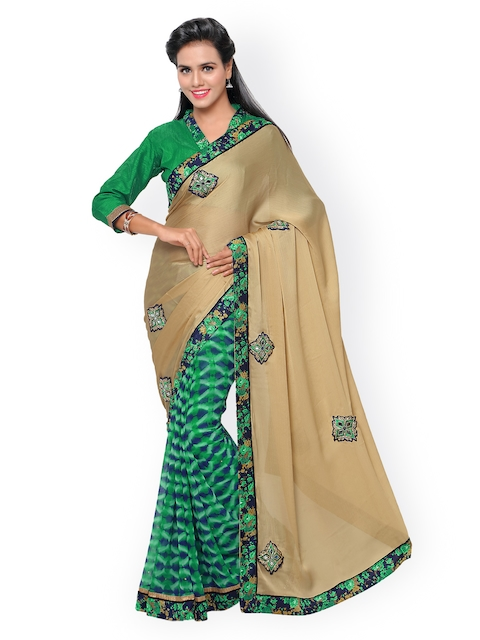 Indian Women Beige & Green Satin & Chiffon Saree