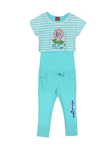 Lilliput Girls Turquoise Blue & White Striped Clothing Set