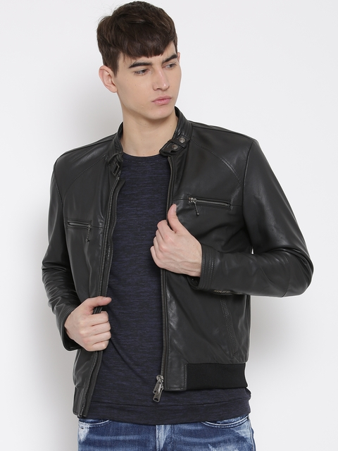 Replay Black Faux Leather Biker Jacket