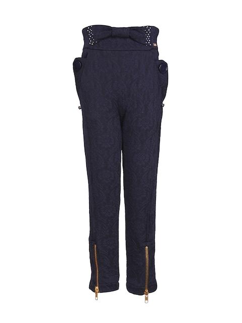 CUTECUMBER Girls Navy Regular Fit Flat-Front Trousers