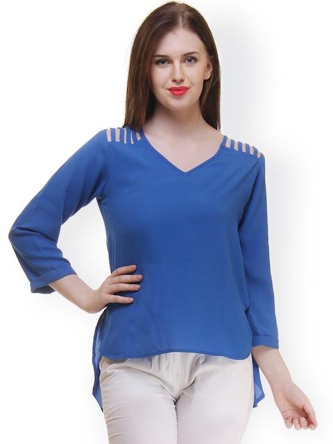 Ruhaans Women Blue Solid Top