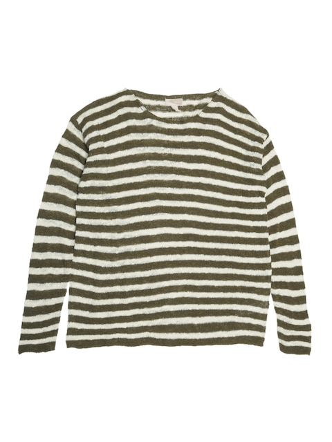 FOREVER 21 Women Off-White & Olive Green Striped Sweater