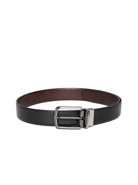 Lino Perros Men Black & Coffee Brown Textured Reversible Genuine Leather Belt