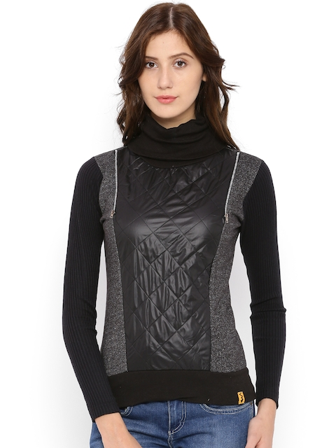 Campus Sutra Charcoal Grey & Black Colourblocked & Quilted Sweatshirt