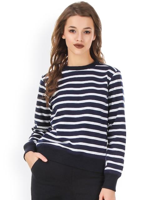 Texco White & Navy Striped Sweatshirt