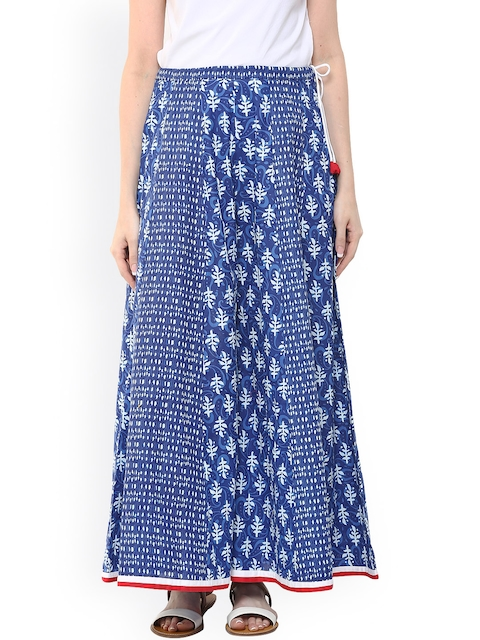 AKS Women Blue Printed Relaxed Fit Palazzo Trousers