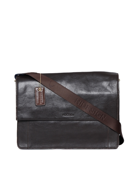 Hidesign Men Black Leather Messenger Bag