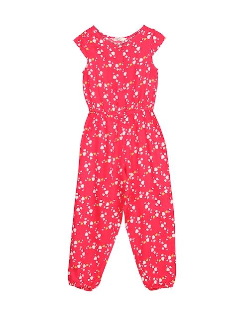 Beebay Girls Red Printed Jumpsuit