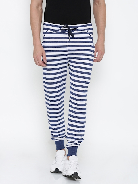 FIFTY TWO Navy & White Striped Joggers