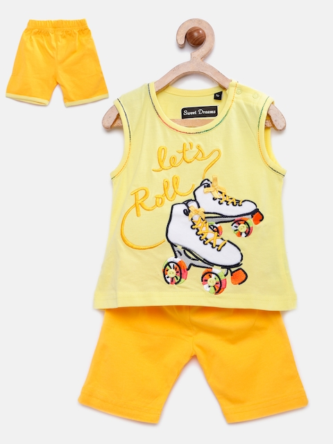 Sweet Dreams Girls Yellow Nightsuit with Applique Detail 4109A5