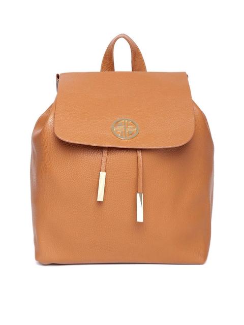 Carlton London Women Tan Brown Solid Backpack