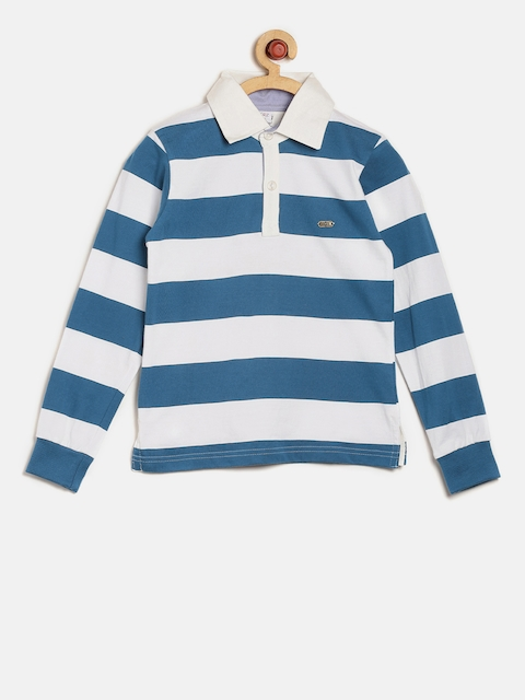 GKIDZ Boys Blue Striped Polo T-shirt