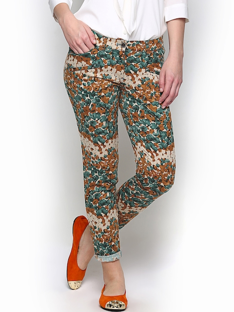 Wills Lifestyle Women Brown & Green Printed Trousers