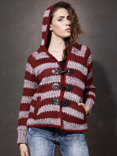 Roadster Red & Grey Hooded Cardigan