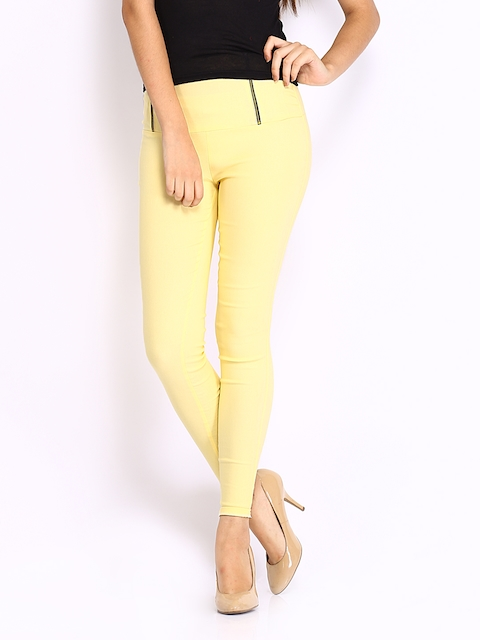 Miss Chase Women Yellow Retro Treggings