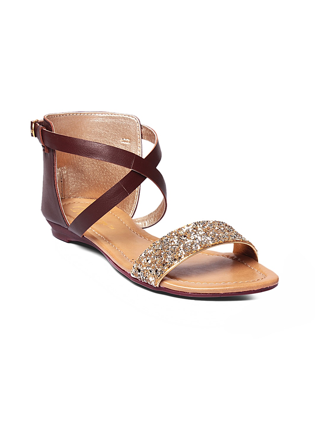 GNIST Women Gold-Toned & Brown Shimmery Flats