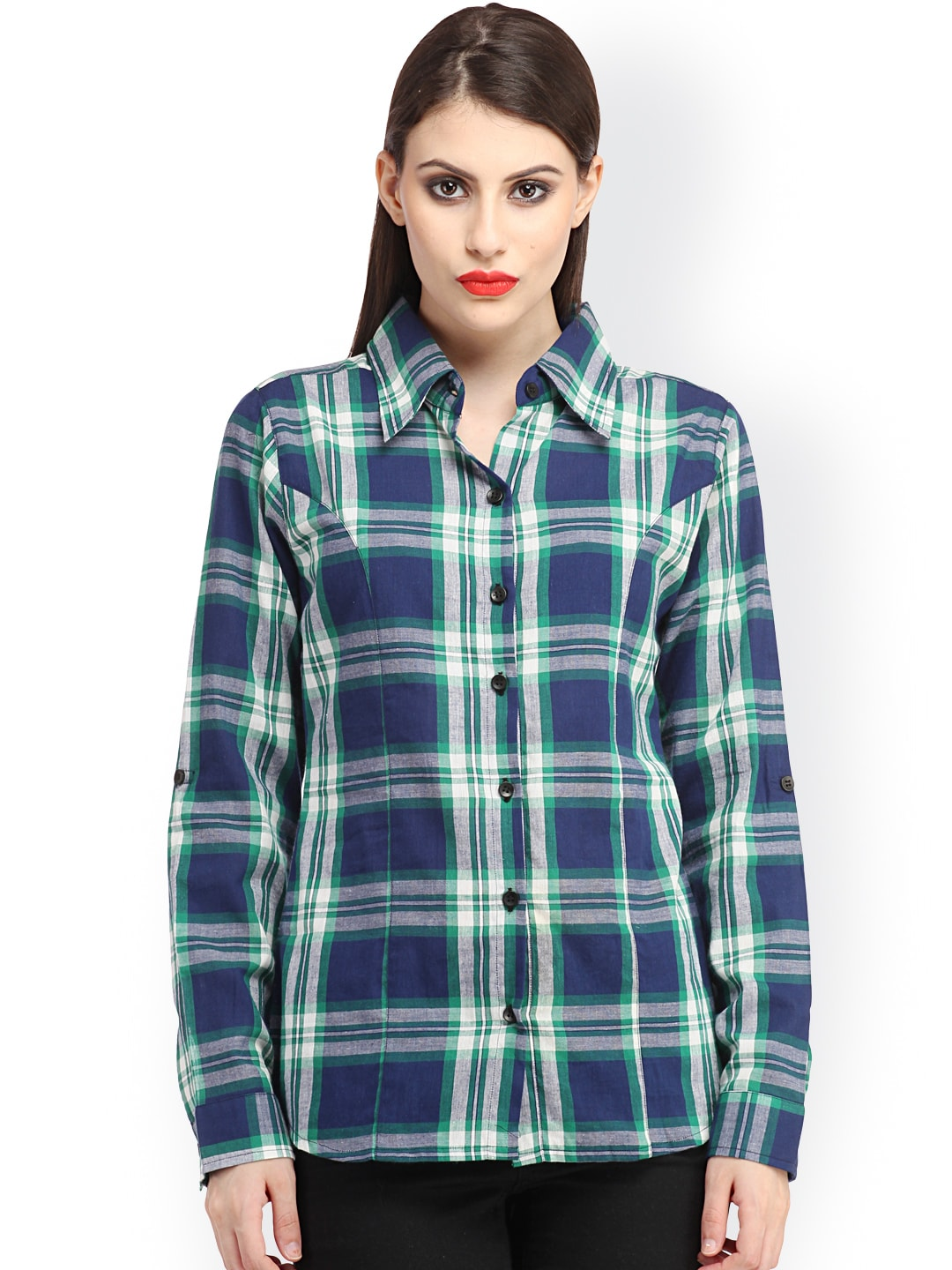 Cation Blue & Green Checked Slim Fit Casual Shirt