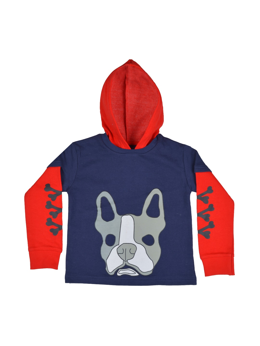 GKIDZ Boys Navy Hooded Printed Sweatshirt