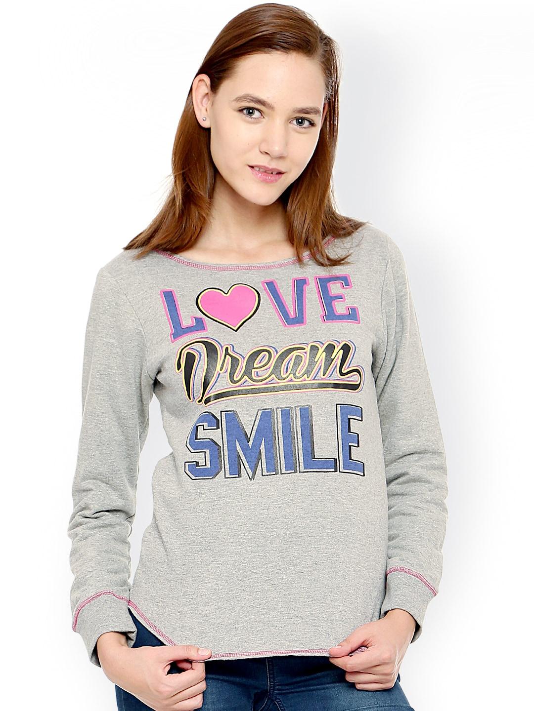 Vvoguish Grey Melange Printed Sweatshirt