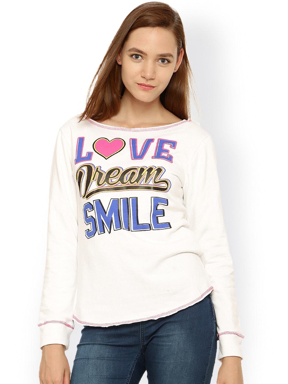Vvoguish White Printed Sweatshirt