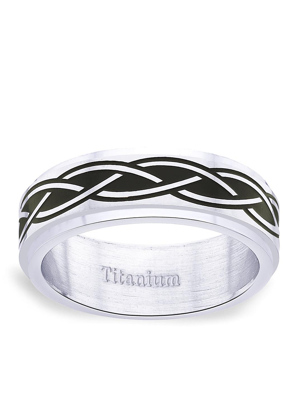 Peora Men Silver-Toned & Black Titanium Ring