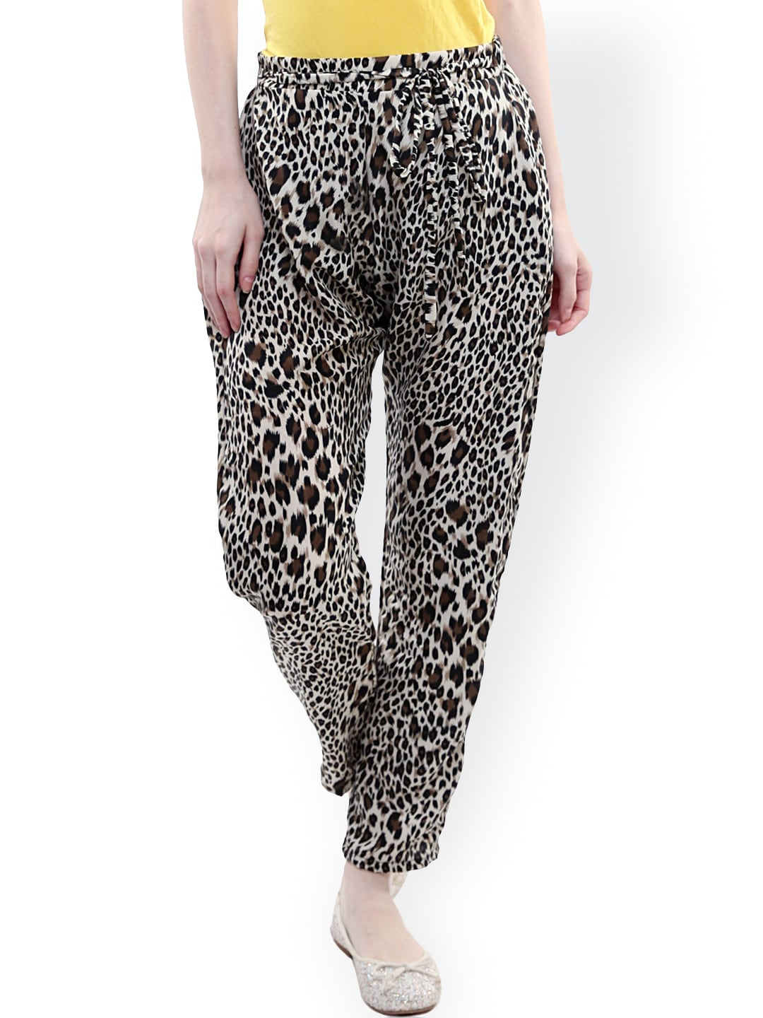 Miss Chase Brown Animal Print Trousers
