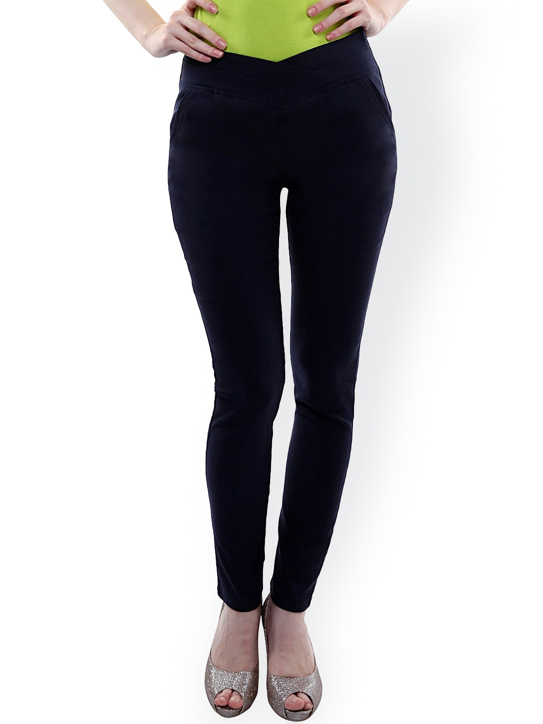 Miss Chase Navy Skinny Fit Trousers