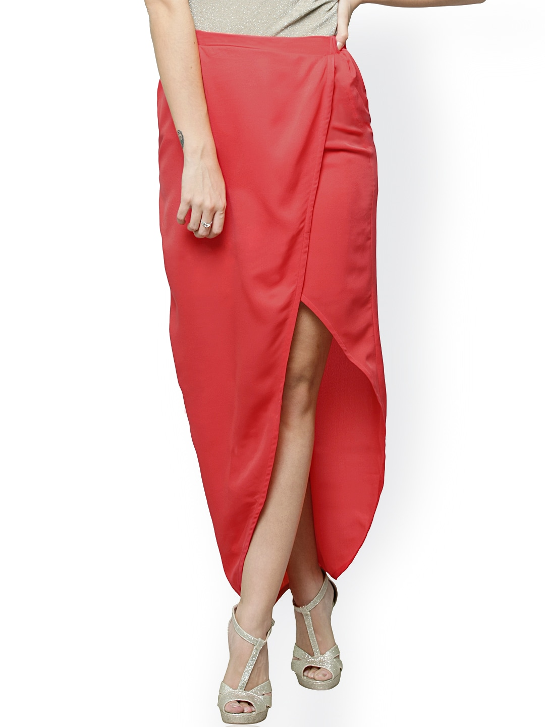 Miss Chase Coral Red High-Low Skirt