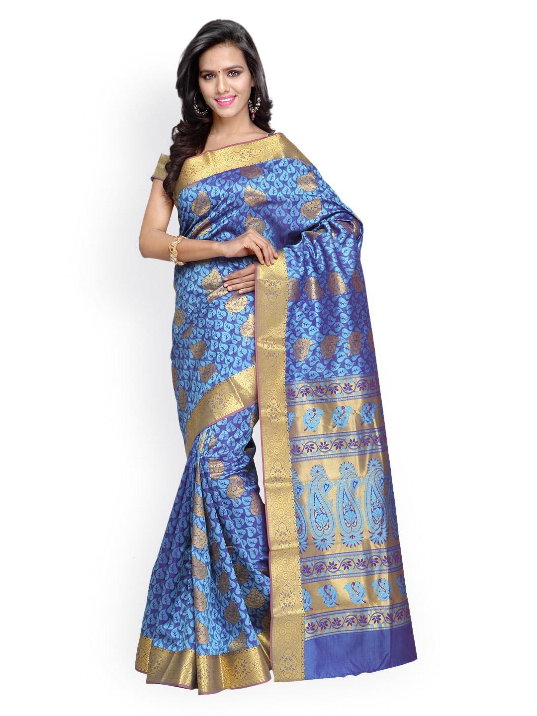 Varkala Silk Sarees Blue Jacquard Kanchipuram Art Silk Traditional Saree