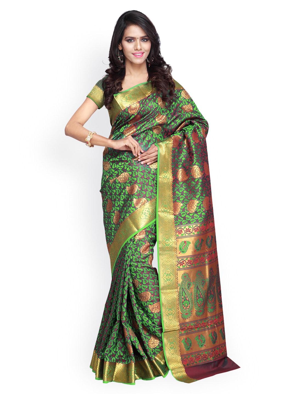 Varkala Silk Sarees Marpon & Green Jacquard Kanchipuram Art Silk Traditional Saree
