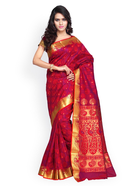 Varkala Silk Sarees Pink & Red Jacquard Paithani Art Silk Traditional Saree