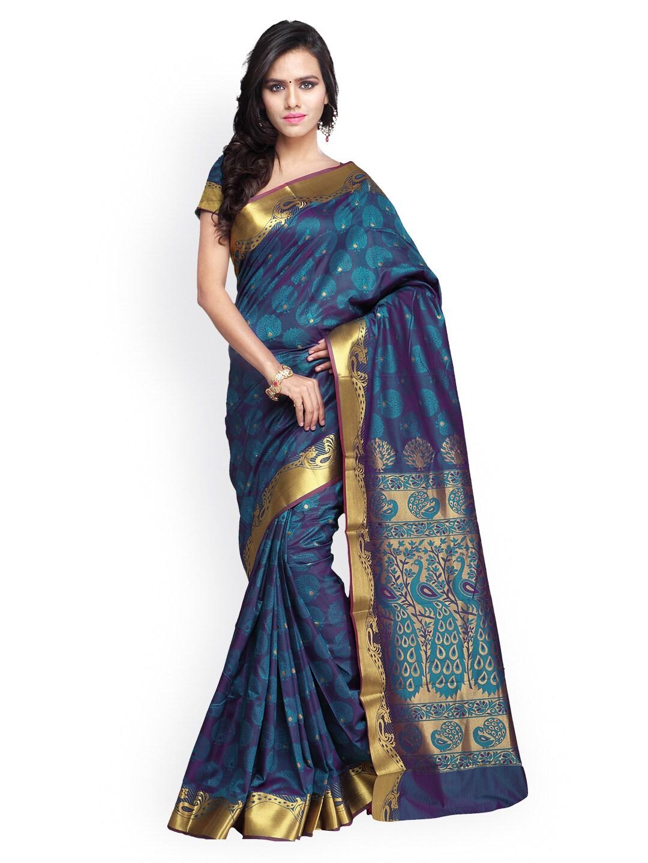 Varkala Silk Sarees Blue Jacquard Paithani Art Silk Traditional Saree