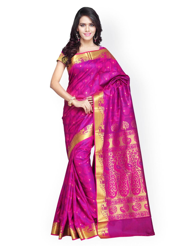 Varkala Silk Sarees Pink Jacquard Paithani Art Silk Traditional Saree