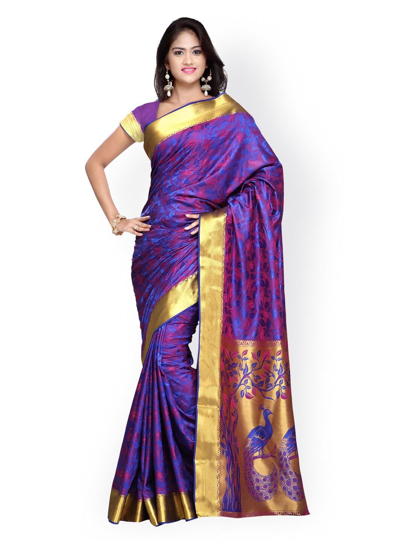 Varkala Silk Sarees Purple Jacquard Paithani Art Silk Traditional Saree