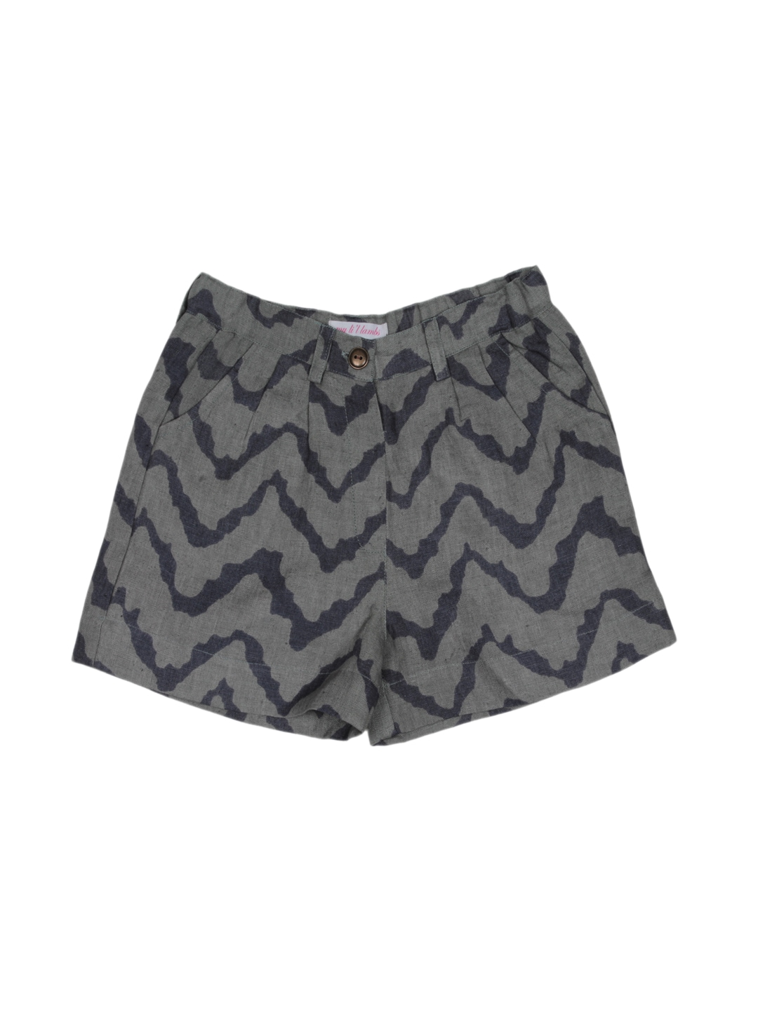 My Little Lambs Girls Grey & Black Printed Linen Shorts