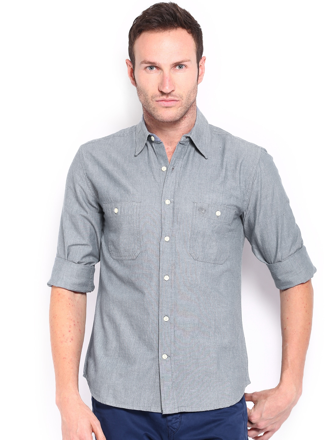 Timberland Timberland Men Blue Slim Fit Casual Shirt