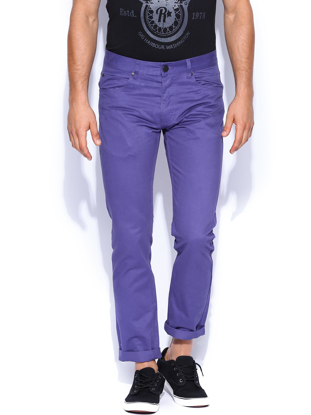 Jack & Jones Men Purple Trousers