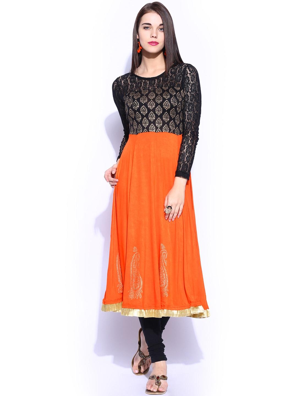 Buy Ira Soleil Orange Amp Black Printed Anarkali Kurta