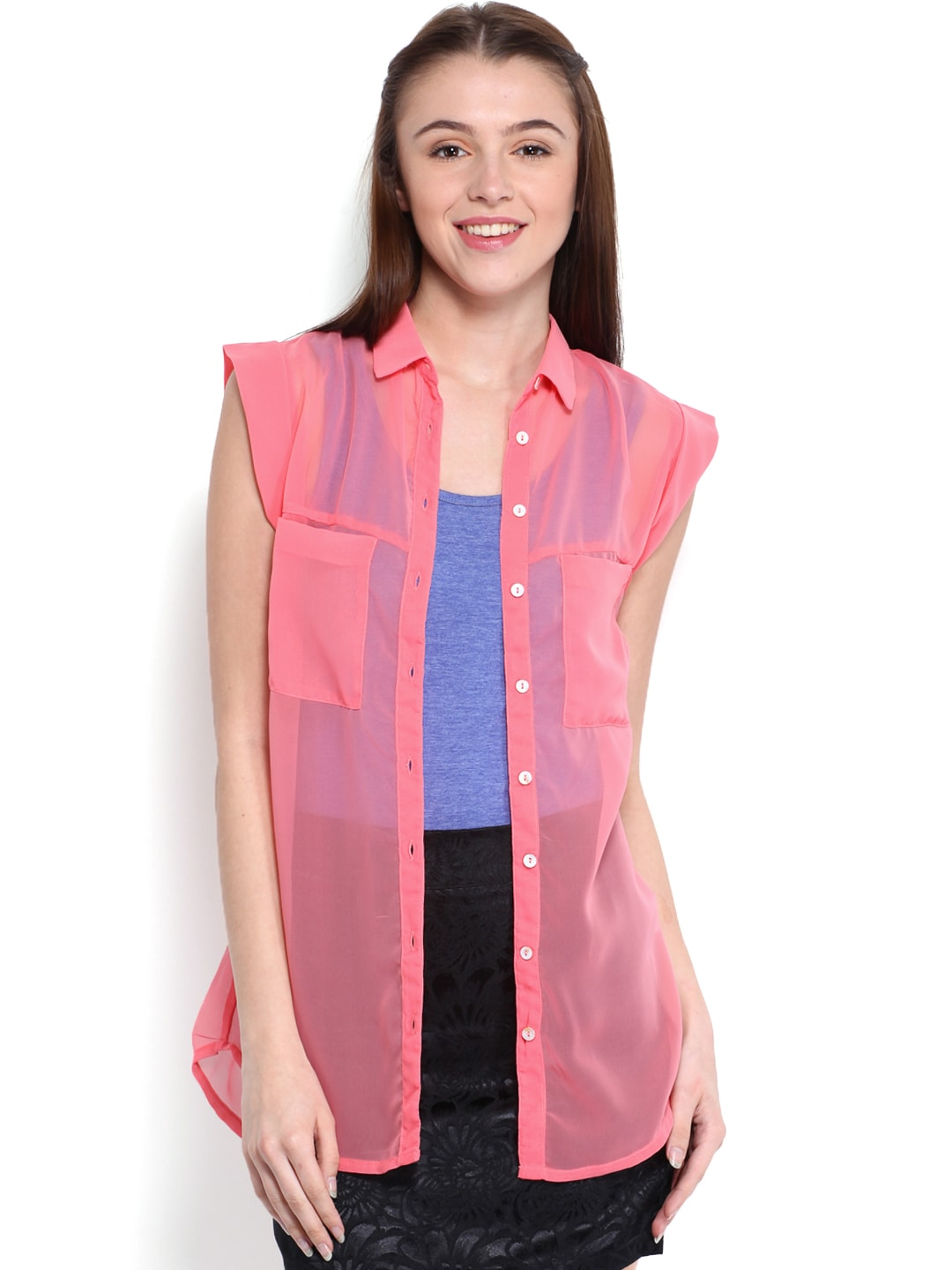 United Colors of Benetton Women Coral Pink Shirt